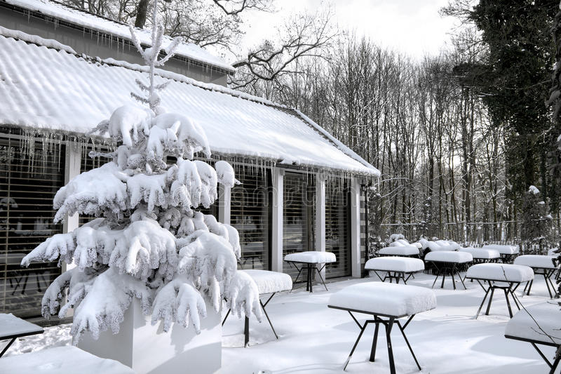 Café com neve. Landscaper do inverno. foto de stock