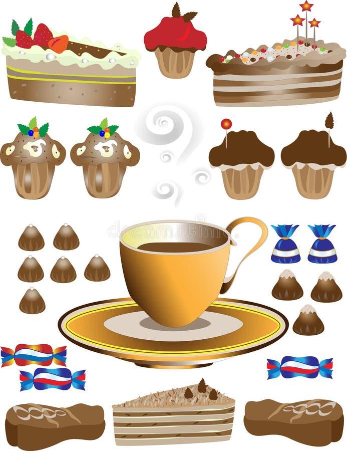 Café com sobremesa. Ilustração ilustração do vetor