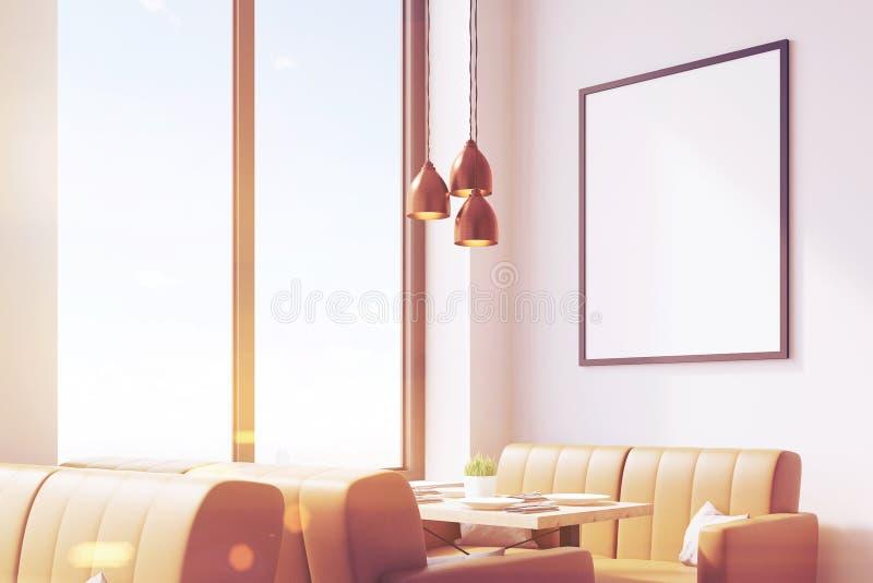 Café com sofás bege e o cartaz, tonificados ilustração do vetor