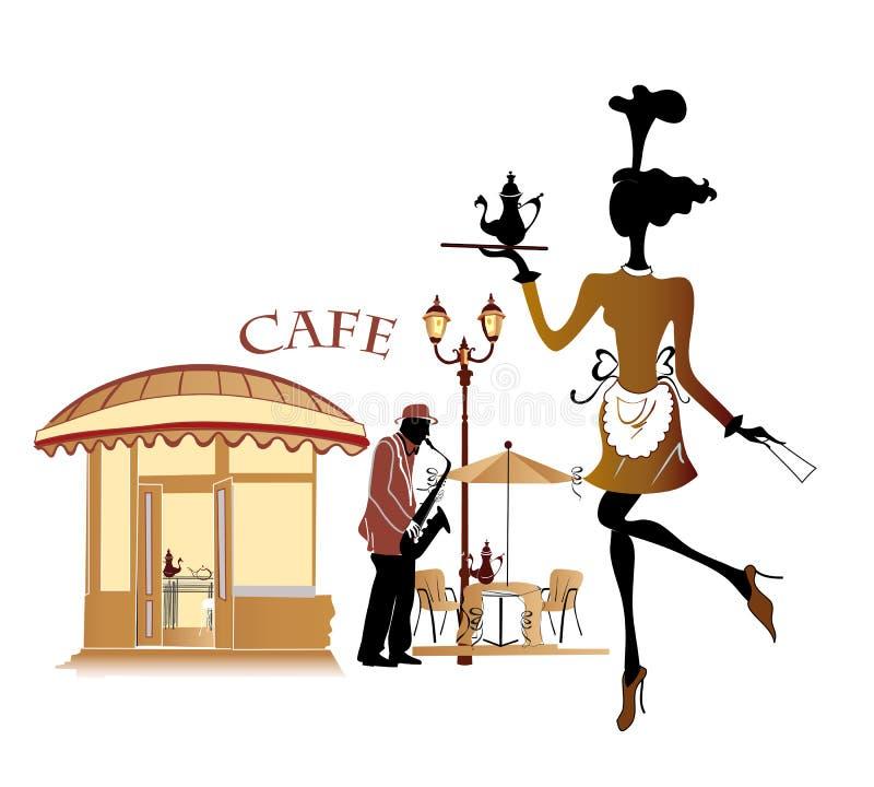 Café com uma empregada de mesa e um músico ilustração do vetor