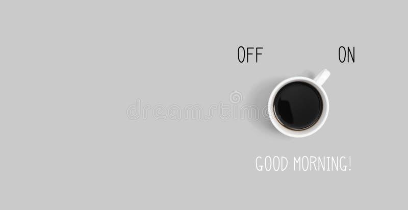 Café con de poder el interruptor encendido ilustración del vector