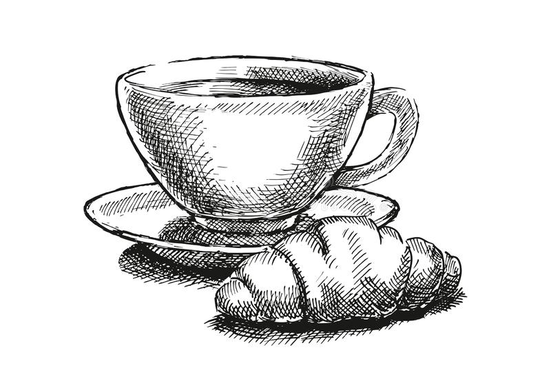 Café con el cruasán fotografía de archivo