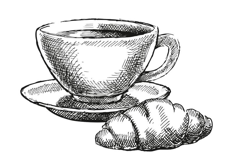 Café con el cruasán imágenes de archivo libres de regalías