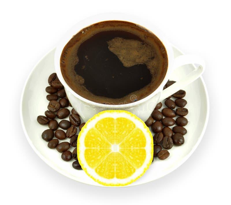 Café con el limón fotografía de archivo libre de regalías