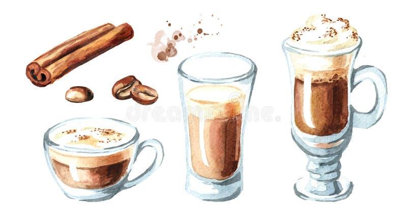 Café con el sistema de la leche Granos del canela y de café Ejemplo dibujado mano de la acuarela, aislado en el fondo blanco ilustración del vector