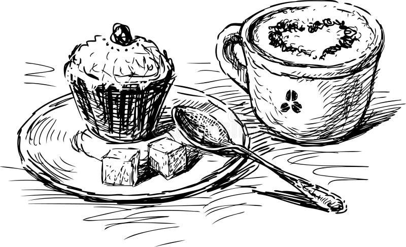 Café con la torta ilustración del vector