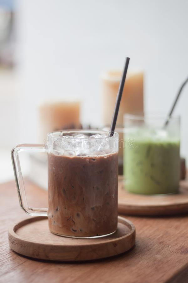 Café congelado na cafetaria fotografia de stock