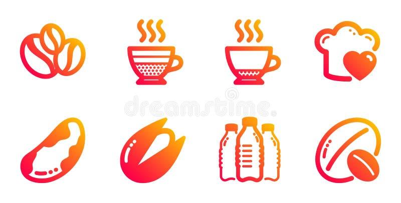 Café crème, Pistachio noix et bouteilles d'eau set icônes Coffee-berry beans, Brésil, noix et Espresso Vecteur illustration libre de droits