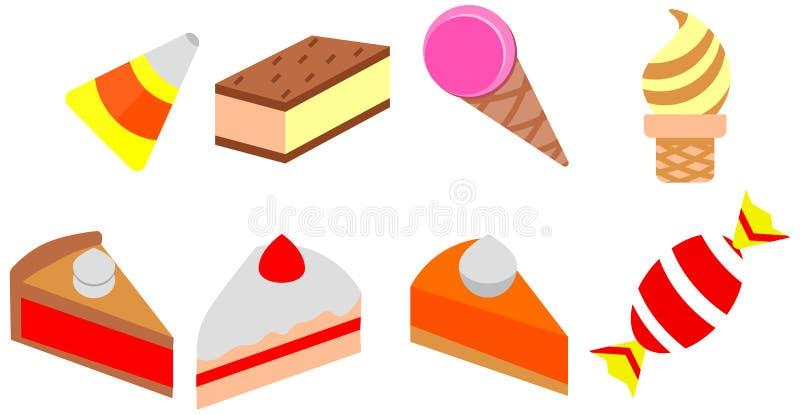 Café d'ensemble de paquet d'icône de crème glacée de griffonnage de couleur de gâteau de bande dessinée illustration stock