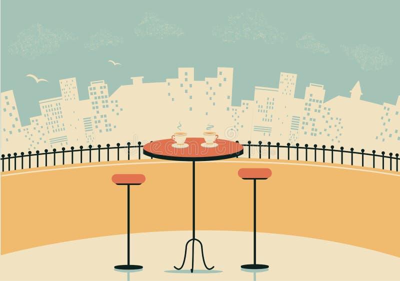 Café da cidade com tabela e xícaras de café ilustração royalty free