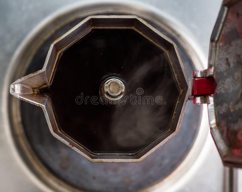Café da fabricação de cerveja de Moka Vista superior foto de stock