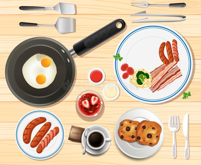 Café da manhã ajustado com ovos e salsichas ilustração royalty free