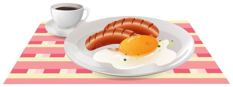 Café da manhã com ovo e salsichas na tabela ilustração stock