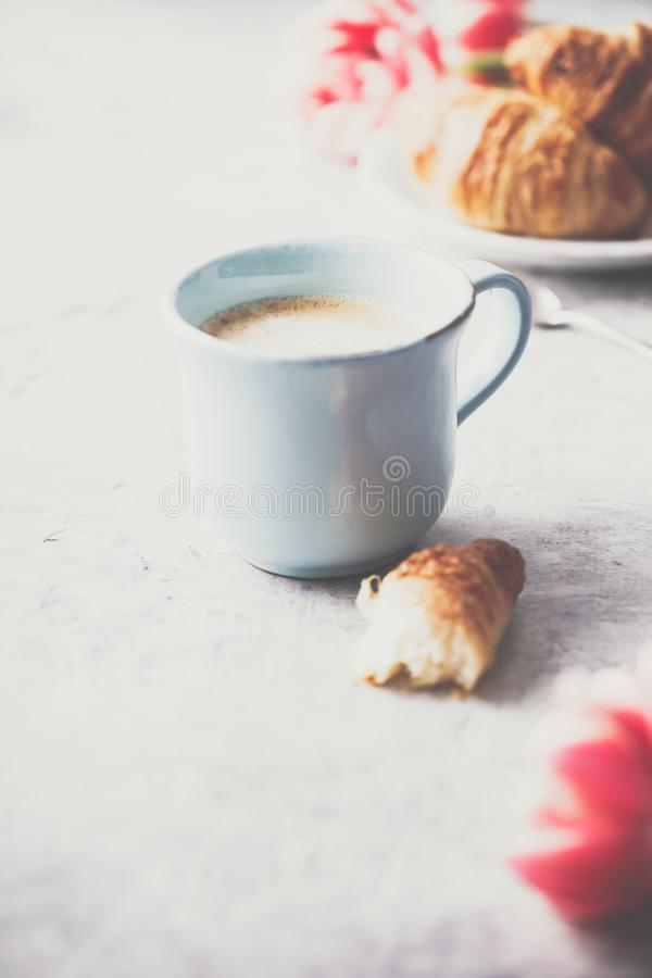 Café da manhã, croissant e tulipas da mola em claro - fundo cinzento imagens de stock