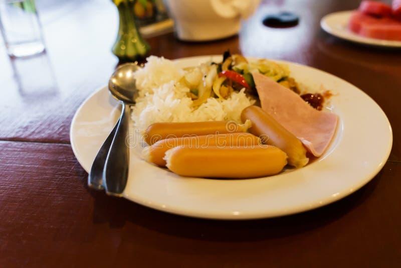 Café da manhã em um recurso em Chiang Mai foto de stock