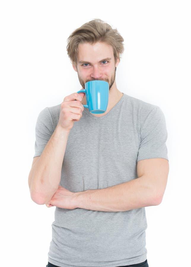 Café da manhã, energia e rafrescamento, ruptura de café, sentimento e emoções fotografia de stock royalty free