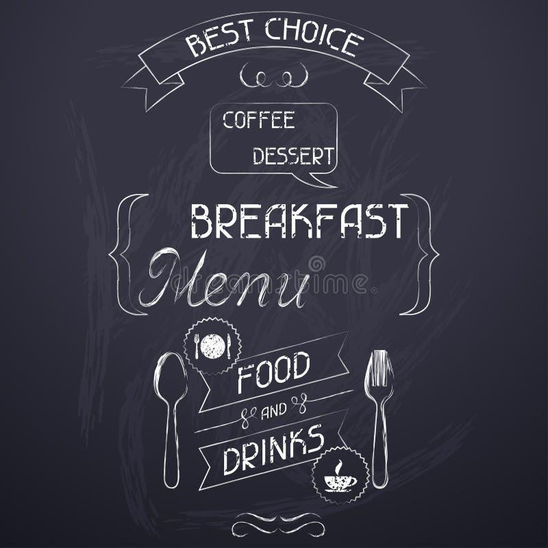 Café da manhã no quadro do menu do restaurante ilustração do vetor