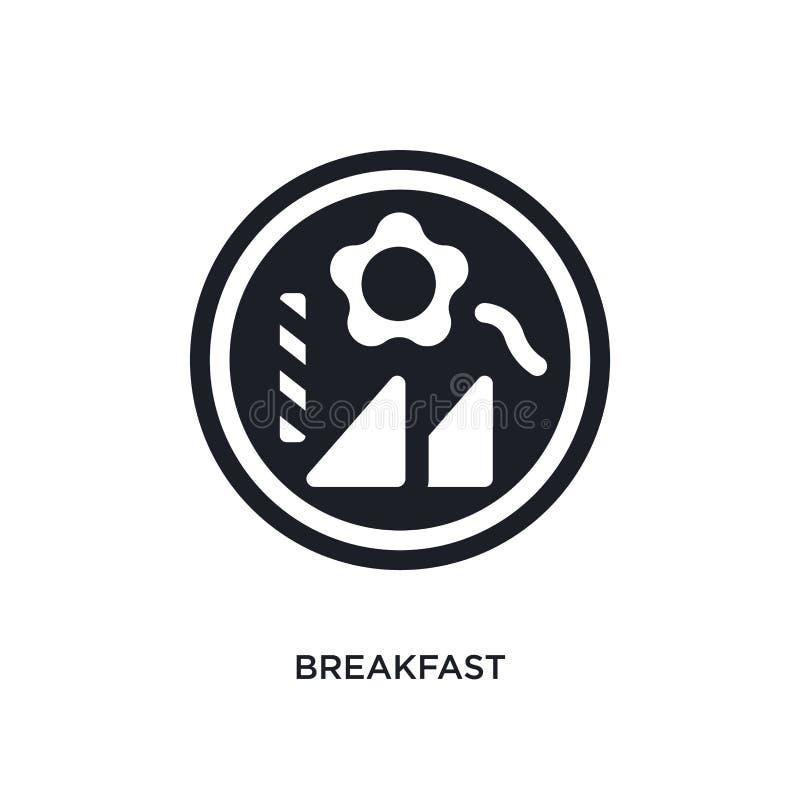 café da manhã preto ícone isolado do vetor ilustração simples do elemento dos ícones do vetor do conceito da acomodação logotipo  ilustração do vetor