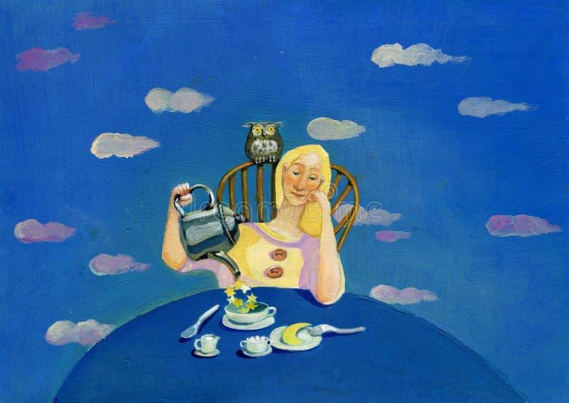 Café da manhã romântico com as estrelas ilustração royalty free