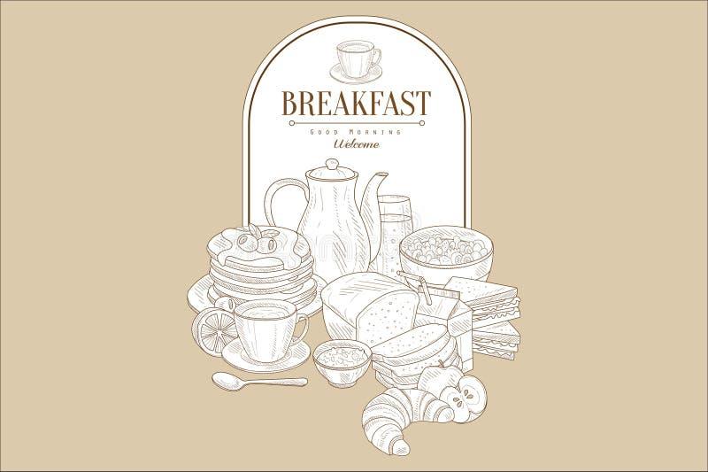 Café da manhã saboroso e quadro com lugar para o texto Panquecas, chá, suco, pão, croissant, papa de aveia, limão, maçã vi ilustração royalty free