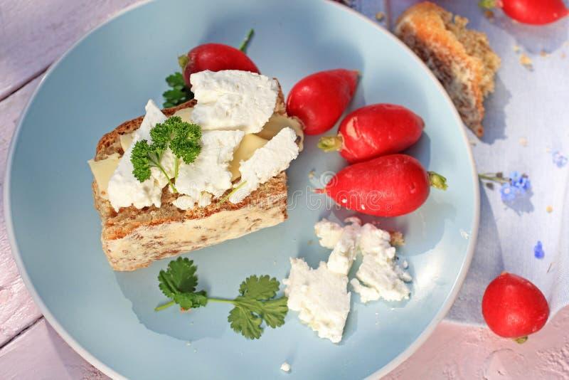 Café da manhã saudável fresco, uma fatia de pão da soda com manteiga e requeijão e rabanete vermelho fotografia de stock