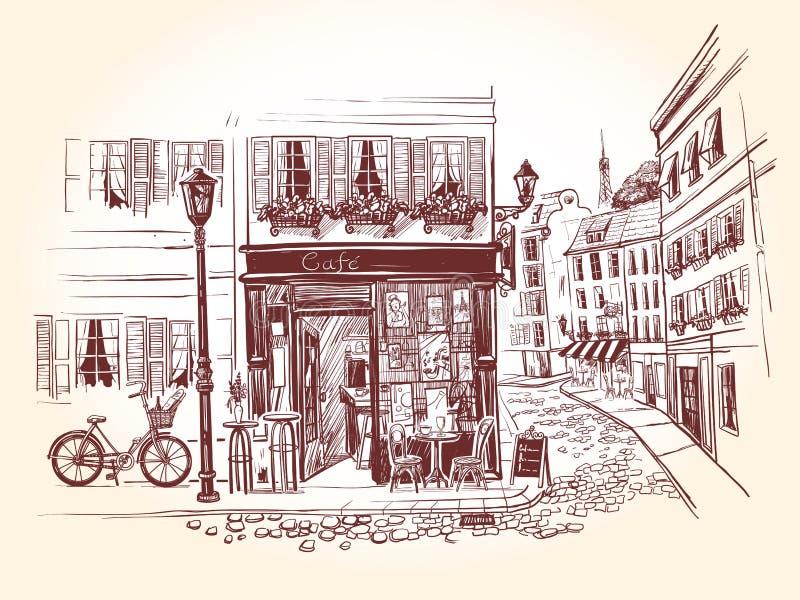 Café da rua no canto de uma construção velha em uma cidade francesa Bicicleta ao lado do café velho Ilustra??o do vetor em ilustração stock