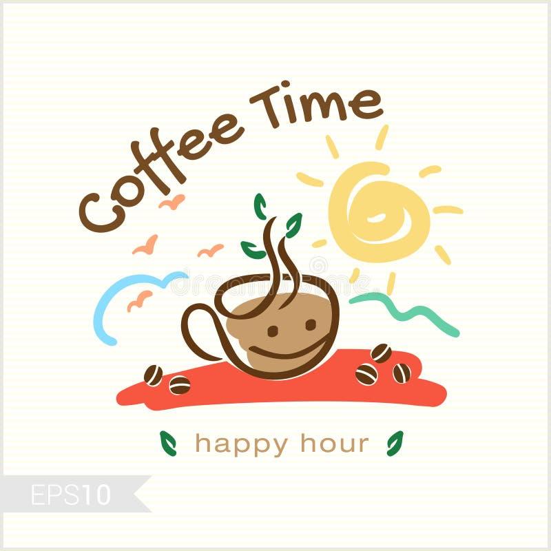 Café dans l'illustration de temps de matin pour l'insigne, label, identité illustration de vecteur