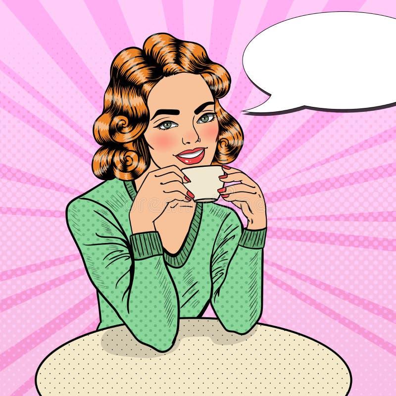 Café de Art Young Beautiful Woman Drinking del estallido en café stock de ilustración