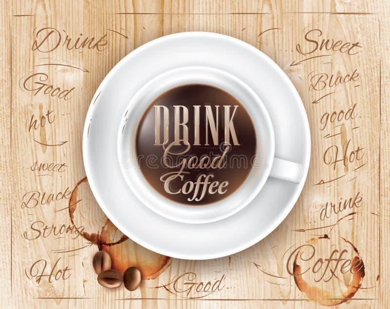 Café de boissons de lettrage de café d'affiche bon. illustration stock