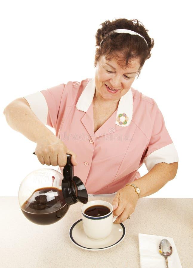 Café de colada de la camarera fotos de archivo