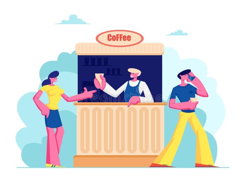 Café de compra da jovem mulher na cabine na rua Café do verão com bebidas, bebidas quentes da compra da menina no bar exterior, l ilustração royalty free
