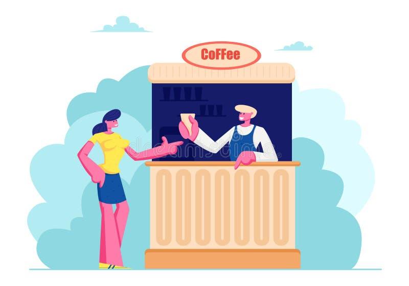 Café de compra da jovem mulher na cabine na rua Café do verão com bebidas, bebidas quentes da compra da menina no bar exterior, l ilustração do vetor