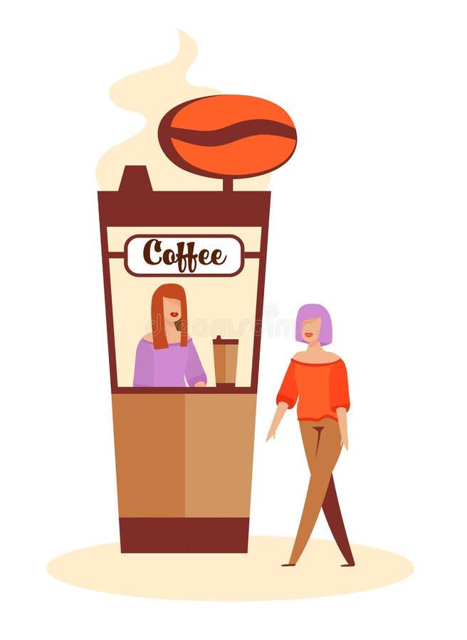 Café de compra da mulher na Café-caixa antes de datar ilustração stock