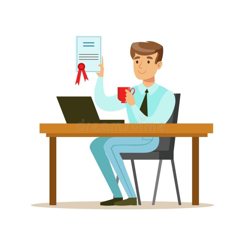 Café de consumición del hombre con el contrato firmado acabado, parte de serie de los oficinistas de personajes de dibujos animad libre illustration