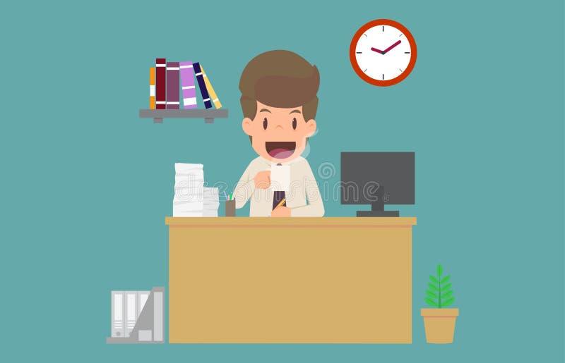 Café de consumición de la felicidad del hombre de negocios y trabajo en el escritorio Carto ilustración del vector