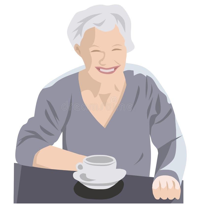 Café de consumición mayor gris libre illustration
