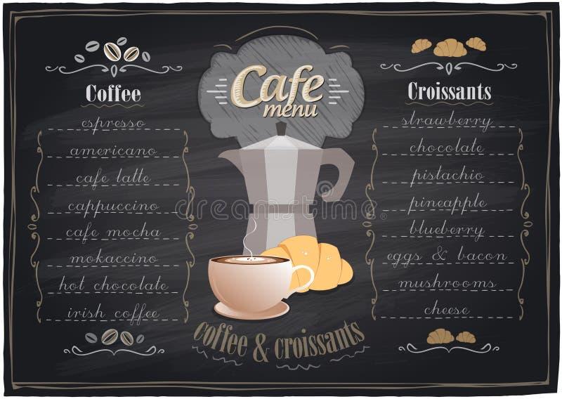 Café de craie de vintage et menu de croissants. illustration de vecteur