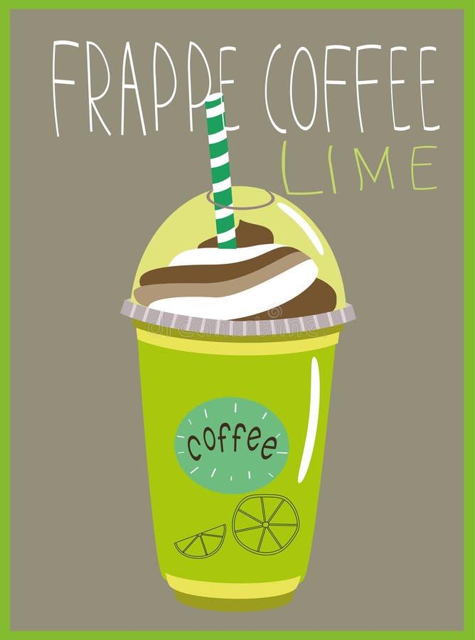 Café de Frappe com o sabor do cal fotografia de stock royalty free