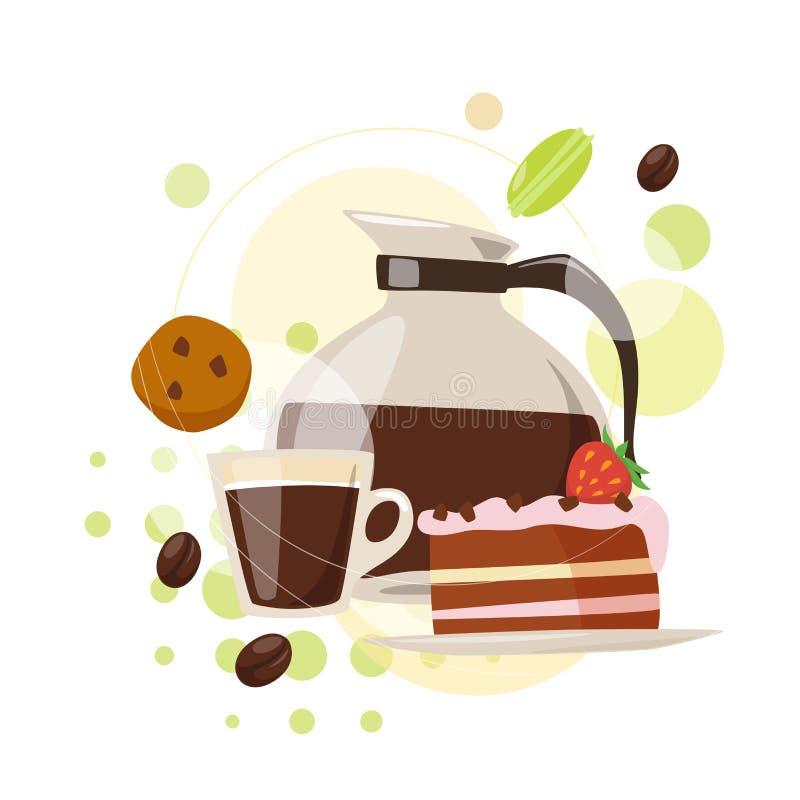 Café de Infographic e projeto do vetor dos doces no estilo liso ilustração royalty free