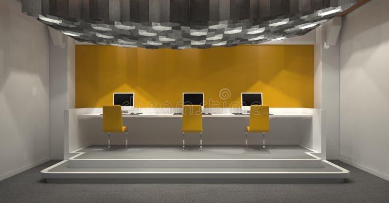 Café de Internet moderno com a decoração amarela e cinzenta ilustração royalty free