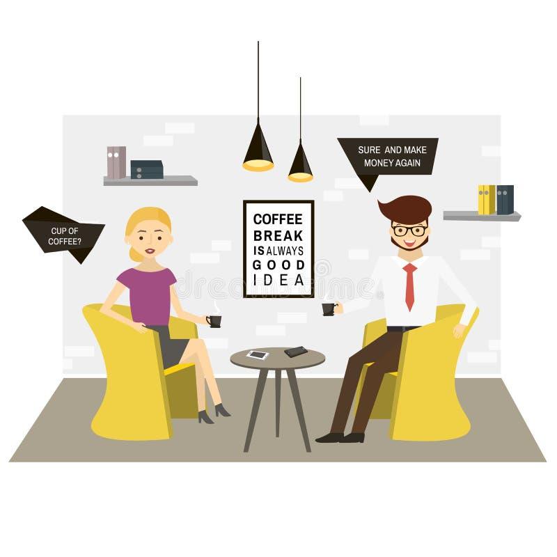 Café de la bebida de los caracteres del negocio en oficina moderna Escena moderna de la oficina Ilustración del vector libre illustration