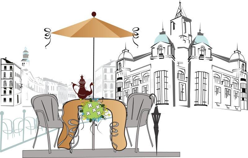 Café de la calle stock de ilustración