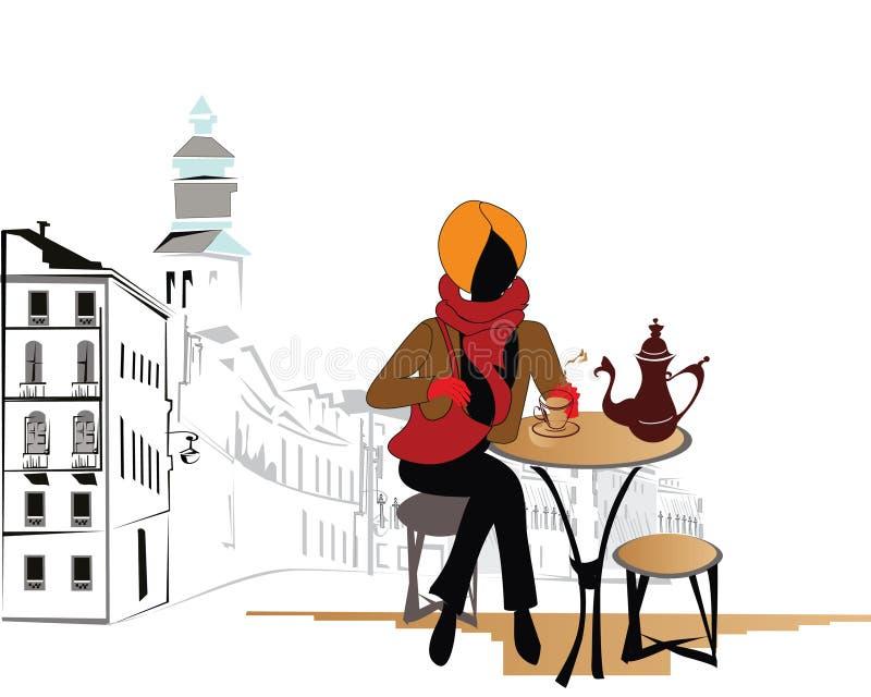 Café de la calle ilustración del vector
