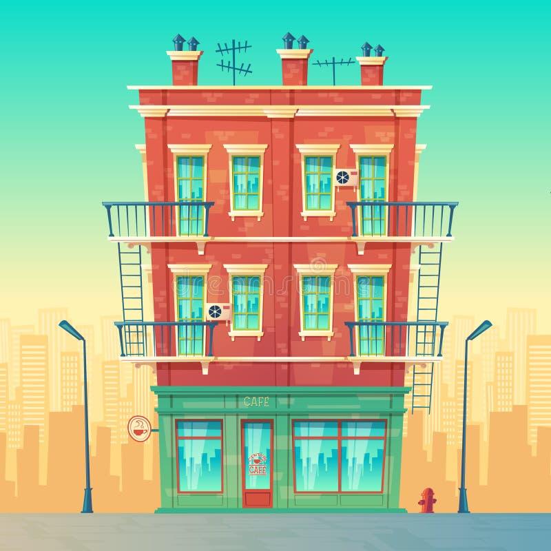 Café de la calle del vector en el apartamento de varios pisos residencial libre illustration