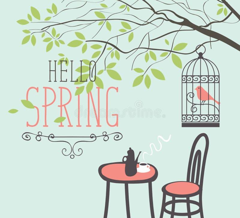 Café de la calle de la primavera debajo del árbol con el pájaro en jaula ilustración del vector