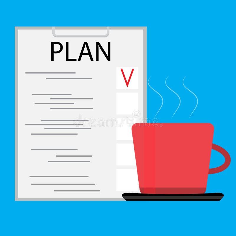 Café de la mañana con el planeamiento ilustración del vector