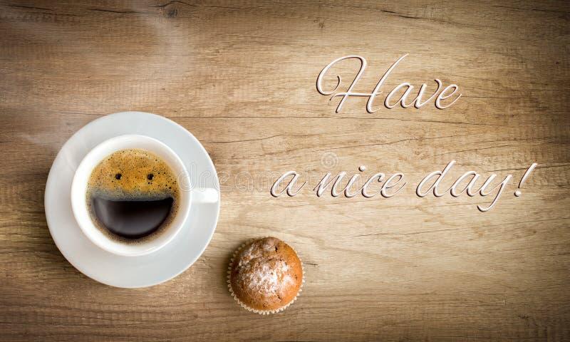 Café de la mañana con la nota imágenes de archivo libres de regalías
