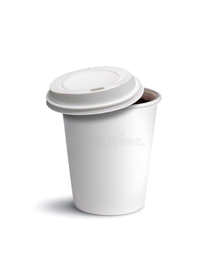 Café de la taza de papel aislado imagenes de archivo