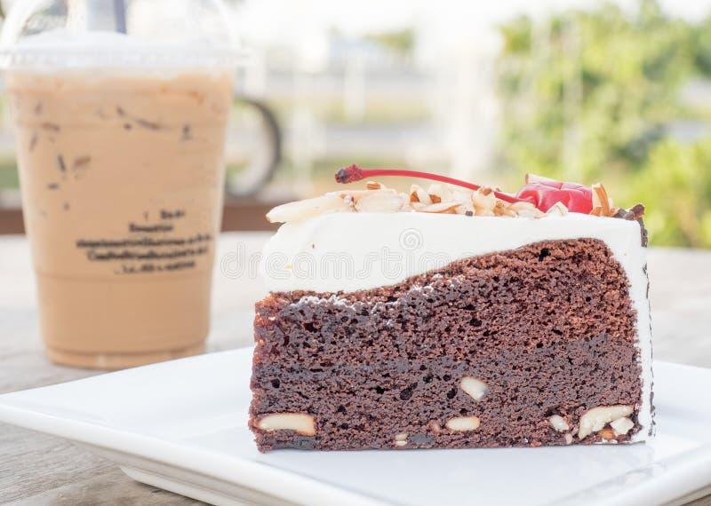 Café de la torta y de hielo fotografía de archivo