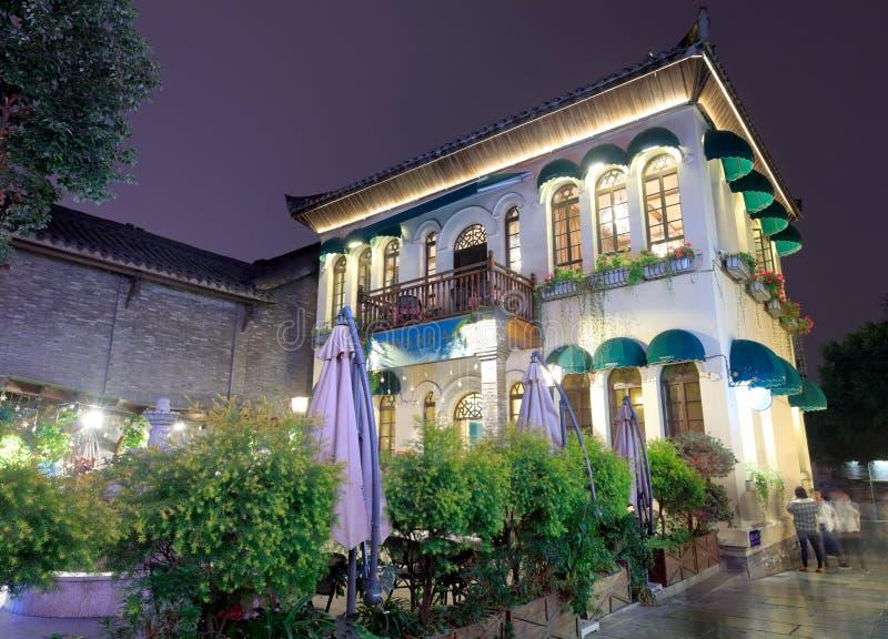 Café de la vista de la noche del callejón del jingxiangzi, imagen del srgb foto de archivo